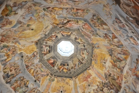 The ceiling with frescoes of the last judgement
