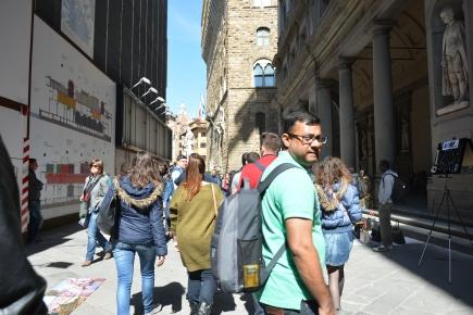 The Uffizi on the right, in the front Pallazo Vecchio