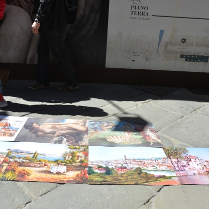 Paintings displayed on the street