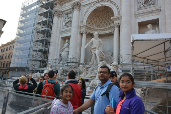 Restoration work at the Trevi Fountain