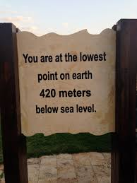 The sign board at the Dead Sea