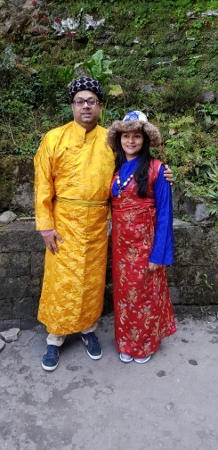 Us in the local costume