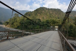 On the suspension bridge before the climb upwards to Pelling