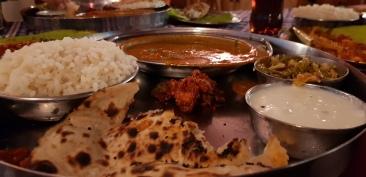 Roti, Red rice, Fish Curry, Prawn Masala- Typical Mangalorean cuisine