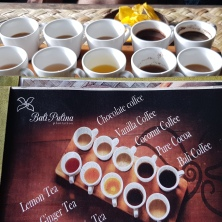 Different types of coffee and tea served