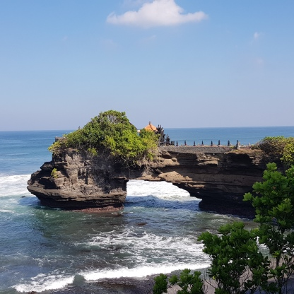 Batu Balong connected to the shore