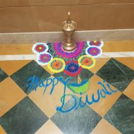 Rangoli decoration outside the house